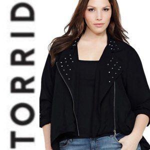 TORRID Asymetrical Zip Front Moto Studded Jacket W